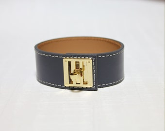 New Equestrian Buckle Ornament Leather Bracelet(DARK GREY)