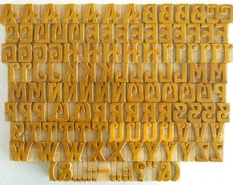 Free Shipping - A to Z, Punctuation Marks 125 No's Designer Letterpress Wooden Letters Complete Set for Printing- VG078