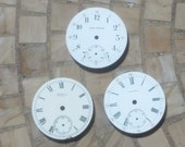 3 Antique Pocket Watch Faces - 1800's Metal With Porcelain Enameled Fronts - 1 5/8""