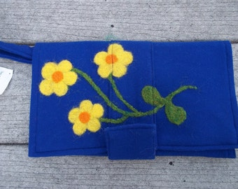 Felted Royal Blue Clutch Needle Felted Flower Design in Yellow Orange Eco Friendly