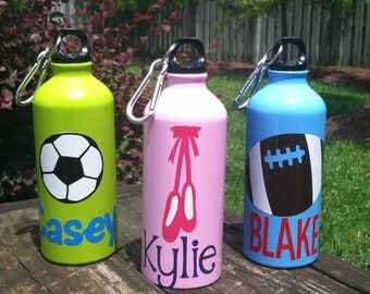 SALE! Personalized Aluminum Water Bottle with Clip, Sports Bottle, Kids Water Bottle, Personalized Party Favors