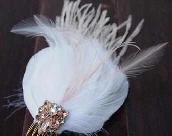 Peach and Blush Feather Hair piece Vintage Rhinestone Bling - OOAK