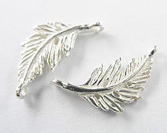 4 of 925 Sterling Silver  Leaf Links, Connectors 9x20 mm. :th1596