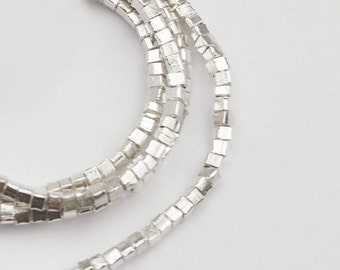 200 of Karen Hill Tribe Silver Tiny Cube Beads 1.7 mm 13.5 inches :ka3675