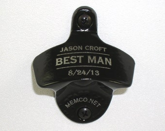 Set of 5 Personalized Groomsmen Bottle Openers with capcatchers