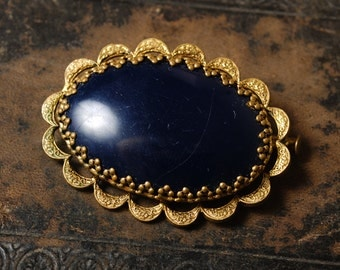 Vintage metal plate, part of brooch with glass stone