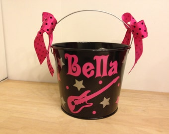 Halloween bucket: Rock star Personalized halloween trick or treat metal bucket, 5 quart pail, Match your Costume, guitar, LOTS of colors