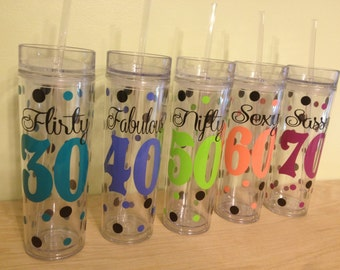 Milestone birthday Personalized w/name acrylic tumbler, polka dots, Available in skinny, standard, sport bottle, mason, kiddie cup & XL cup