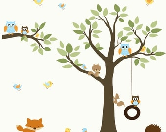 Children Wall Decals Vinyl wall decal Tree with Animals-Vinyl Tree Wall Decal-e40