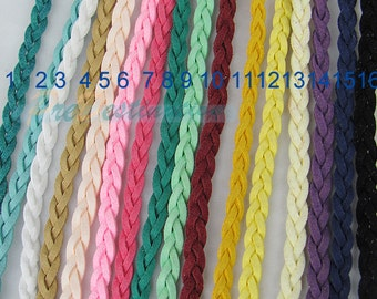 3 ft Braid Band Faux Leather Cord, 6mm Faux Suede Braided Rope Strands, Handcraft Materials for Fashion Leather Jewelries Making