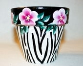 Hand Painted Flower Pot,  Zebra Print and Pink Floral