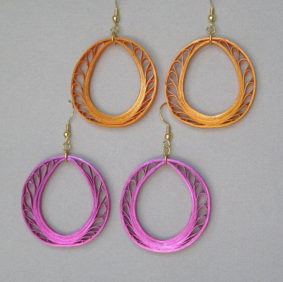 Quilling Papers Earrings: Quilling Earrings Metallic Orange Or Magenta