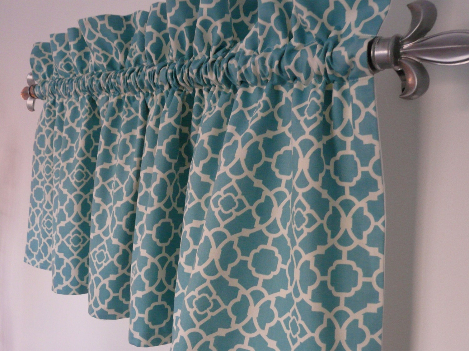 Turquoise valance waverly lovely lattice by paisleyladydesigns - Green and turquoise curtains ...