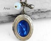 "Get 15% OFF - Handmade Resin ""Aries"" Constellation Sign Antique Bronze Oval Photo Locket Pendant Necklace - Valentine's Day SALE 2016"