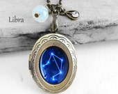 "Get 15% OFF - Handmade Resin ""Libra"" Constellation Sign Antique Bronze Oval Photo Locket Pendant Necklace - Valentine's Day SALE 2016"