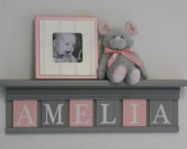 """Gray and Pink - Pastel Pink Baby Girl Stuff, Custom Nursery Decor Shelves - Personalized for AMELIA - 24"""" Grey Shelf with 6 Wooden Letters"""