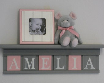 Gray and Pink - Pastel Pink Baby Girl Stuff, Custom Nursery Decor Shelves - Personalized Grey Shelf with Light Pink / Gray Wooden Letters