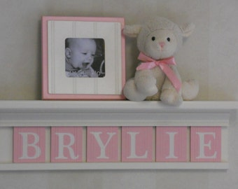 """Personalized Children Nursery Decor 24"""" Linen (Off White) Shelf with 6 Letter Wooden Tiles Painted Light Pink - BRYLIE"""