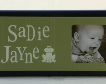 Frog Nursery Decor, Froggy Art Wall Decor, Personalized Baby Nursery Picture Frames, Green and Navy Blue Baby Decor Photo Frame Custom Order