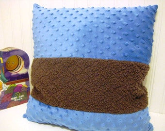 Blue Reading Pillow - Library Book Corner Pillow - Ready to Ship