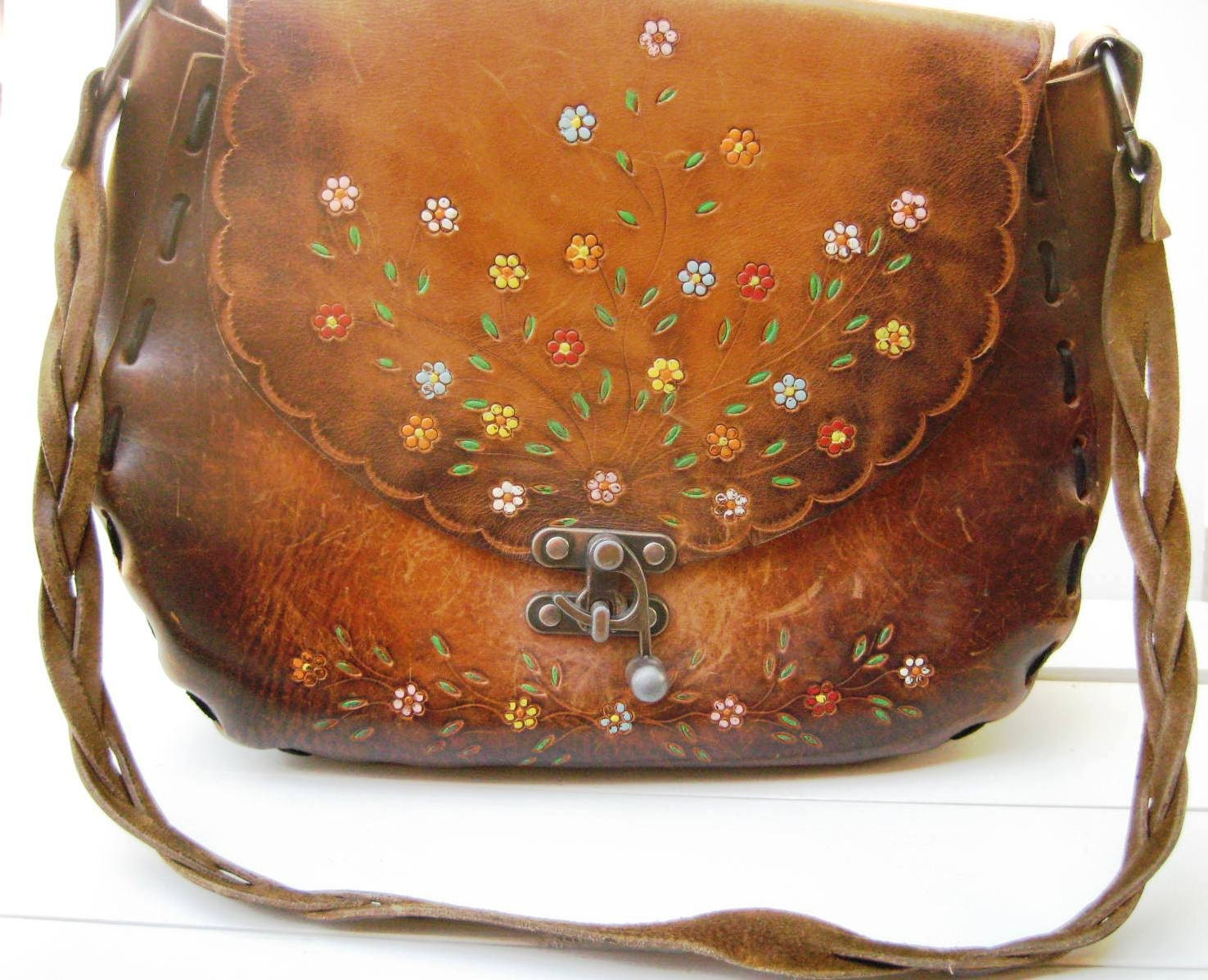 Vintage Leather Purse Hand Tooled With Metal Latch