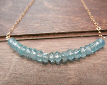 Aqua Apatite Necklace, Simple Turquoise Gemstone Necklace, 14k Gold Filled Chain, Aquamarine Row Necklace,