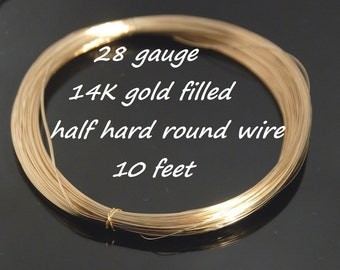 28 gauge 14K gold filled half hard round wire for jewelry making,  10 feet