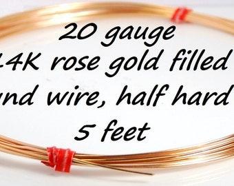 Made in USA 20 gauge 14K rose gold filled round wire, half hard, 5 feet