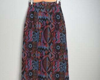 Vintage 70s Blue Purple Black Tribal Maxi Tapestry Winter Skirt // womens small  // size 0/2/4
