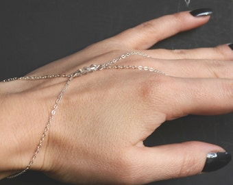Sterling Silver slave bracelet, finger bracelet hand chain Swarovski crystals (optional color), delicate minimalist jewelry boho bracelet