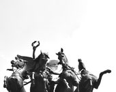 Wellington Arch Horse Sculpture London Black and White Photograph