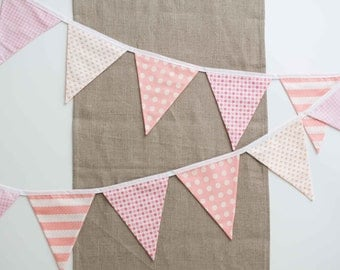 Girly Pink Fabric Flag Bunting