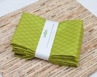 Large Cloth Napkins - Set of 4 - (N1550) - Green Diamond Geometric Modern Reusable Fabric Napkins