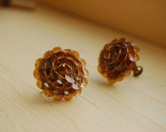 Vintage Amber Sequin Earrings