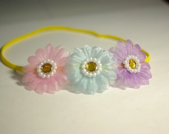 3 Pastel Daisies Flower Newborn Headband--Baby Photography Prop