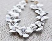 Cascading Silver Flower Bracelet, White Freshwater Pearls, Cherry Blossom Bracelet, June Birthstone, Wedding Jewelry, Gift Under 40