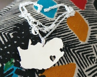 South Africa Pendant SA Necklace Country Pendant sterling silver Map of South Africa