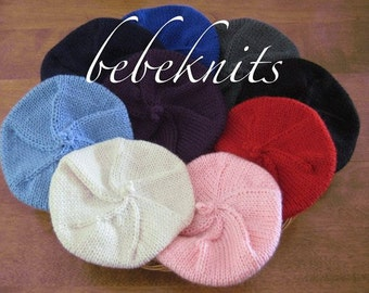 Hand Knit French Beret Baby Hat In Multiple Colors