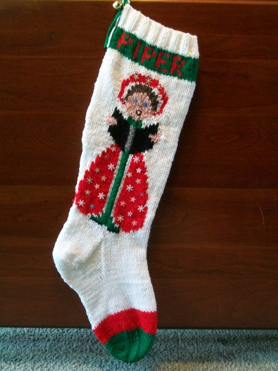 Knitted Christmas Stocking Patterns Personalized : Christmas Stocking Hand Knitted Custom Order by knottyneedleworker
