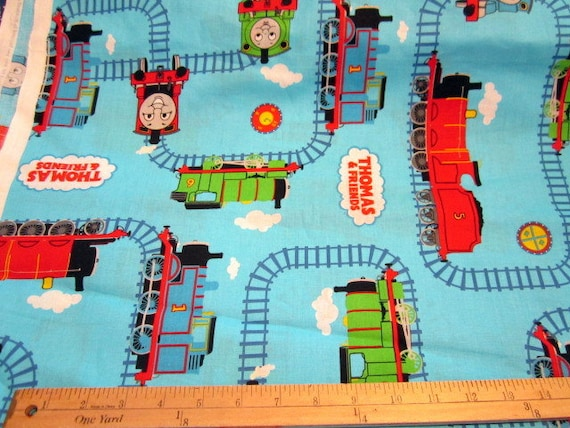 Last yard all aboard thomas the train tracks cotton fabric for Train fabric by the yard
