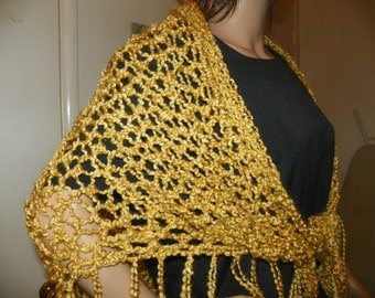 Beach Sarong Silky Gold Shawl Wrap Neck Warmer Bikini Wrap wear as a Shawl Hand Crochet