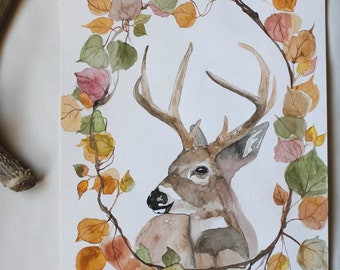 SALE Through The Woods Original  Watercolor Painting by Sarah Rose Storm