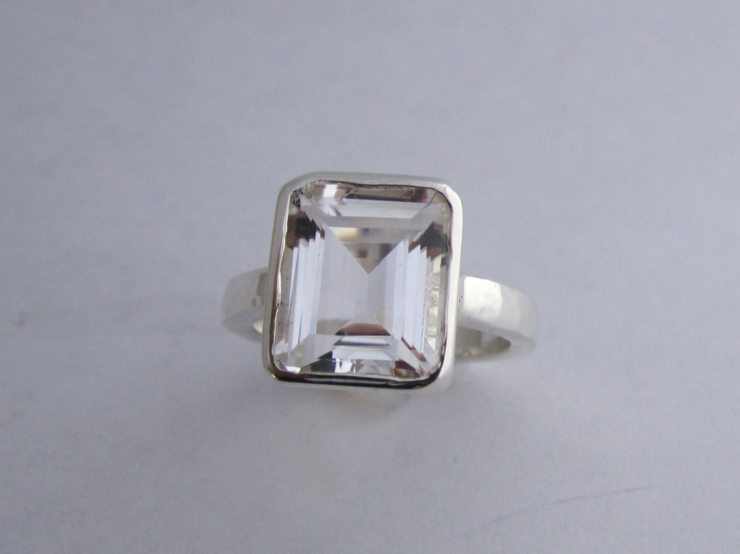 white topaz ring octagon emerald cut sterling by theresapytell