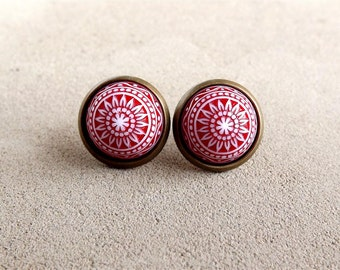 Red Etched Earrings Red Etched Studs Vinatge Etched Dome Ear Posts Gift For Her Finest Vintage July Inspired