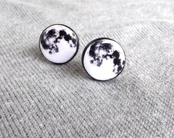 Full moon earrings- Moon stud earrings- Moon post earrings- Galaxy Post Earrings