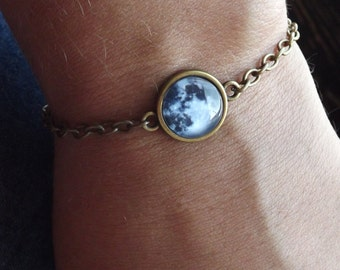 Full Moon Bracelet Moon Jewelry Solar System Jewelry Space Galaxy Night Stars Gift For Her Him