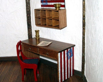 Americana Desk, Dollhouse Miniature 1/12 Scale, Hand Made in the USA