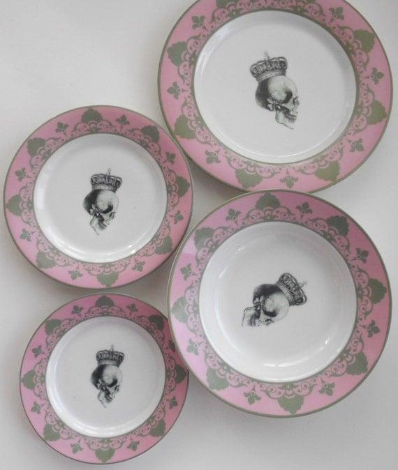 4-piece Pink /Gray Skull Dinnerware Set - very Goth/Ste&unk & 4-piece Pink /Gray Skull Dinnerware Set - very