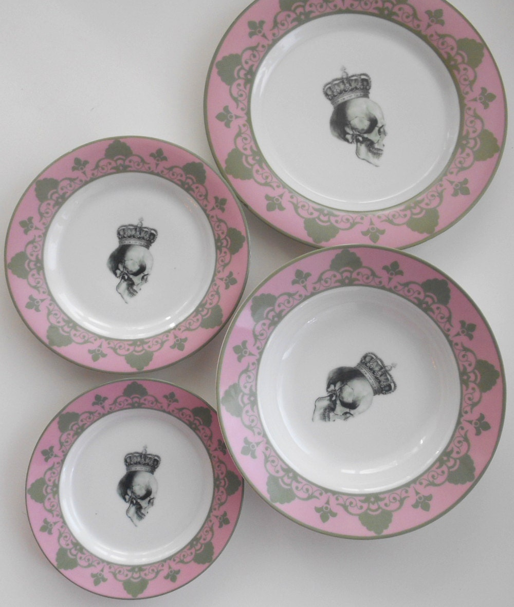 ... customized plates customized dishes skull wedding plates wedding porcelain wedding dinnerware goth wedding ste&unk wedding Thanksgiving plates ... & 4-piece Pink /Gray Skull Dinnerware Set - very