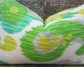SALE Designer Pillow Cover  -  Outdoor Journey Ikat Green Citrus 12  x 18, 18 x 18
